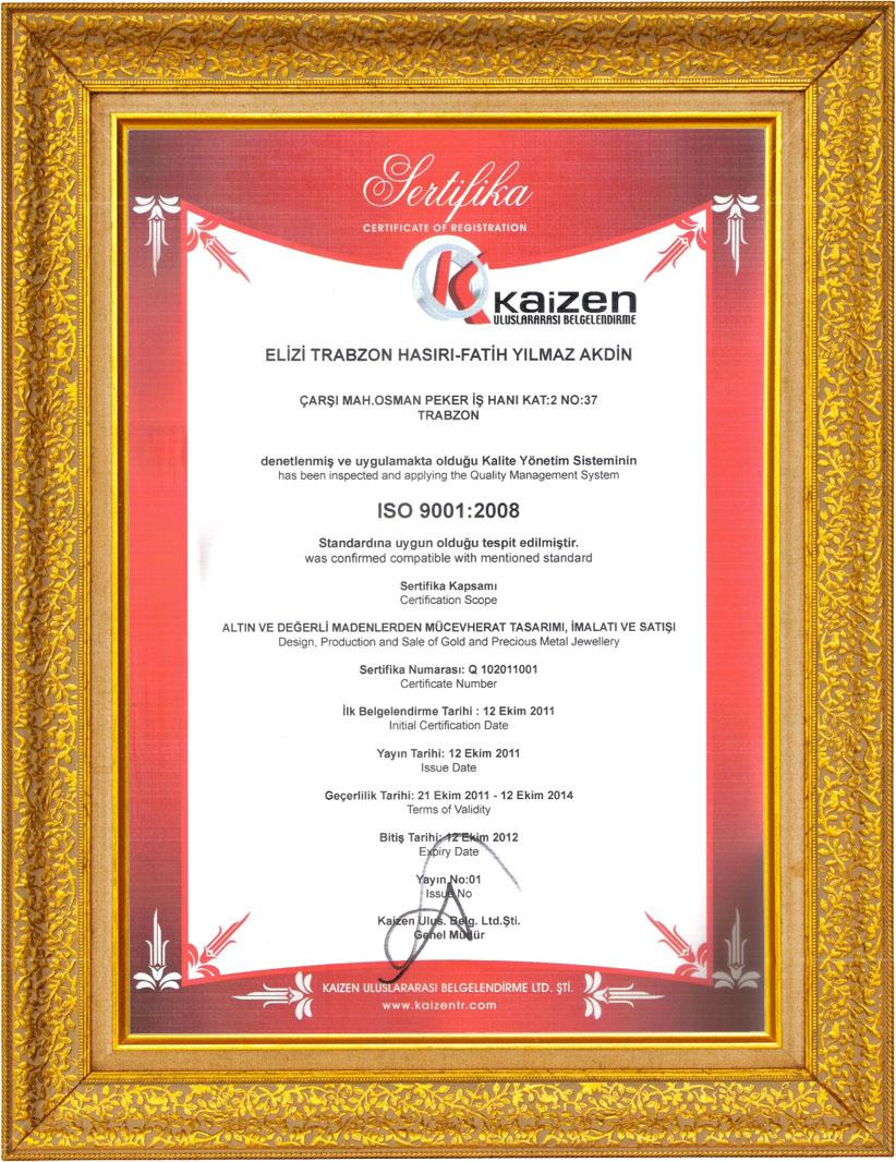 Elizi Trabzon Hasır ISO 9001 Belgesi