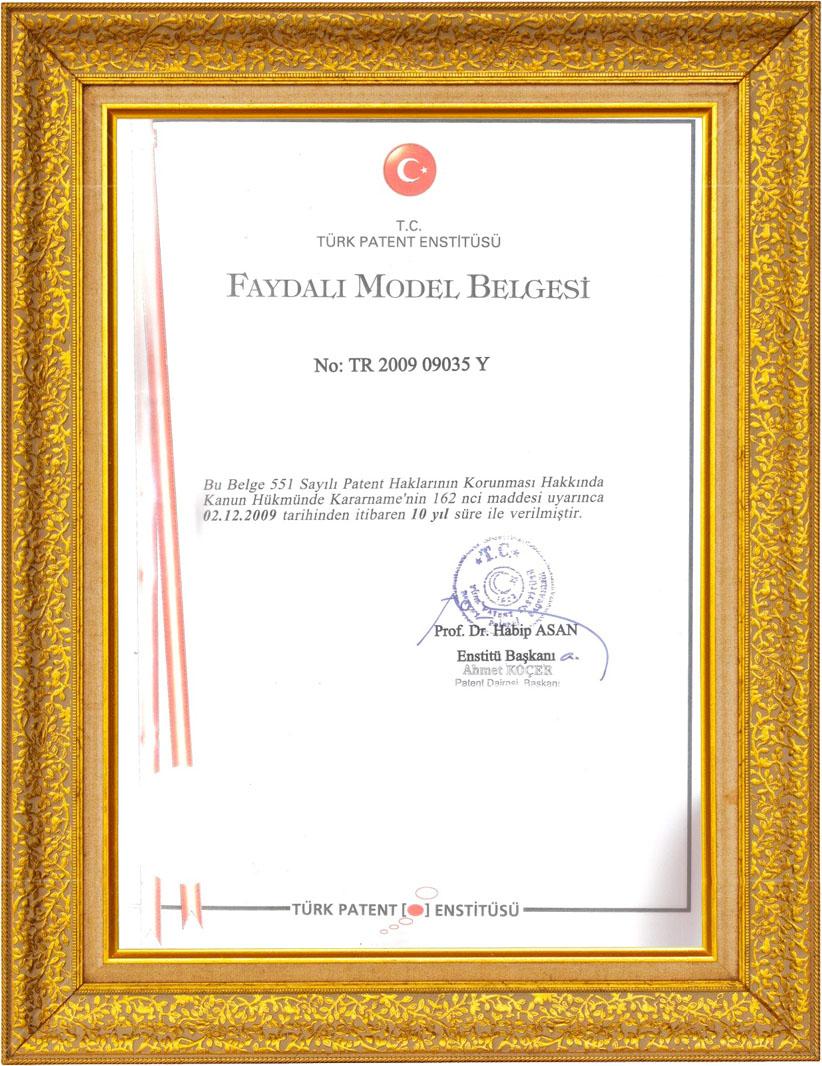 Elizi Trabzon Hasır TPE Faydalı Model Belgesi