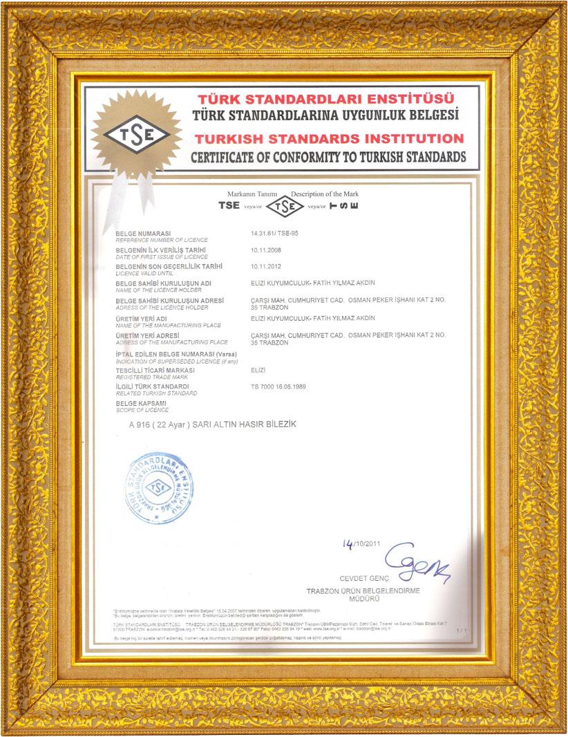 Elizi Trabzon Hasır TSE Uygunluk Belgesi