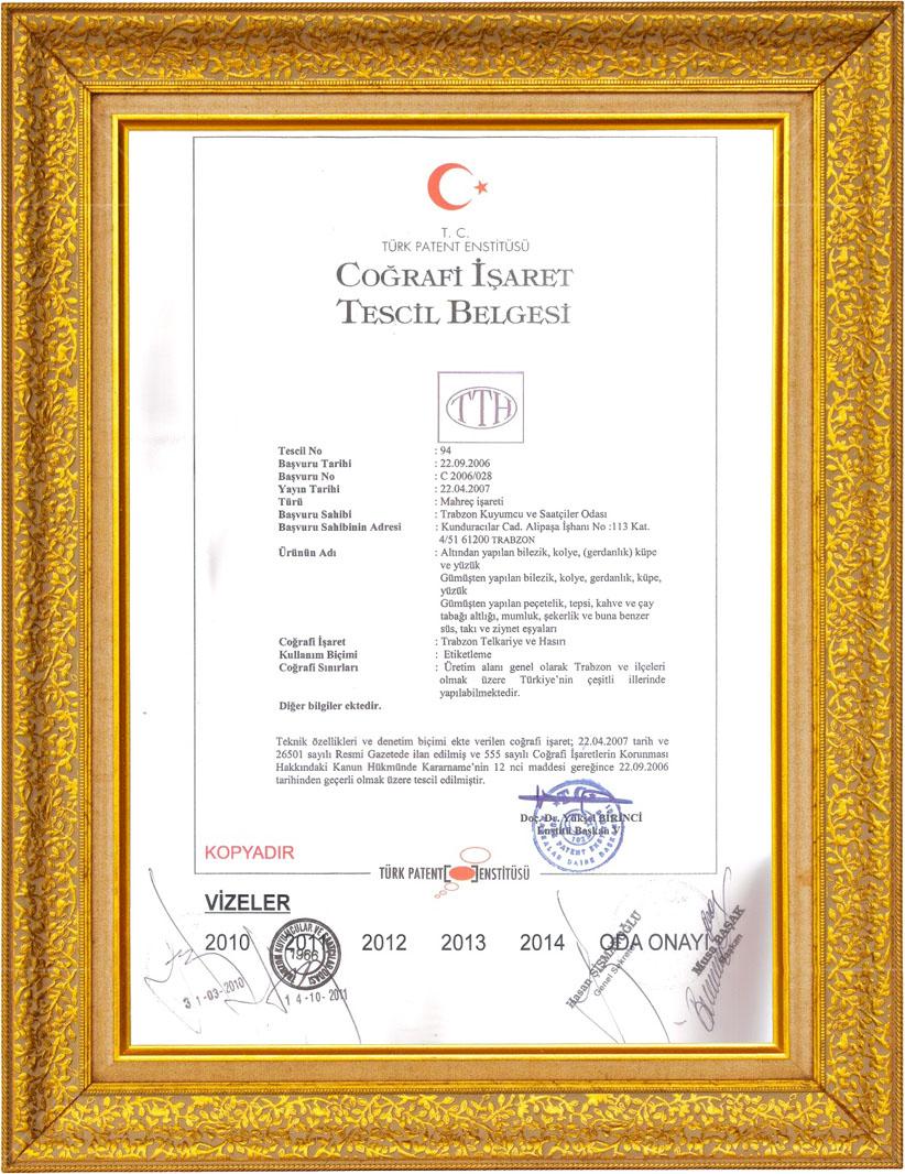Elizi Trabzon Hasır TTH Coğrafi İşaret Belgesi